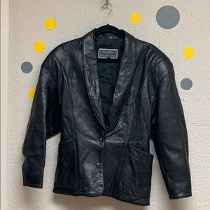 Leather jacket black leather size 7/8 great fit